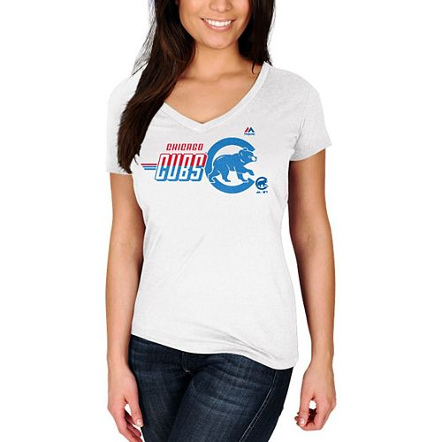 Women's Majestic White Chicago Cubs Momentum Builder V-Neck T-Shirt