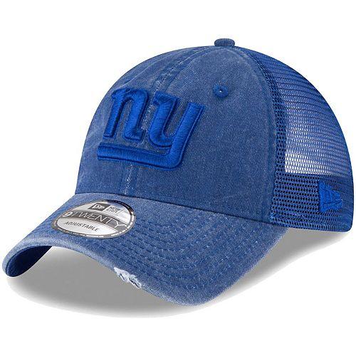 Men's New Era Royal New York Giants Tonal Washed Trucker 9TWENTY Adjustable Snapback Hat