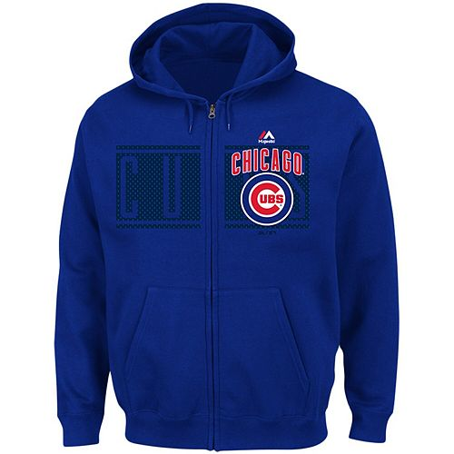 Men's Majestic Royal Chicago Cubs Piercing Attack Full-Zip Hoodie