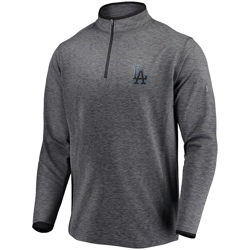 Men's Under Armour Heathered Charcoal Los Angeles Dodgers Stretch Reflective Logo Performance Quarter-Zip Pullover Jacket. Size: 3XL. Grey