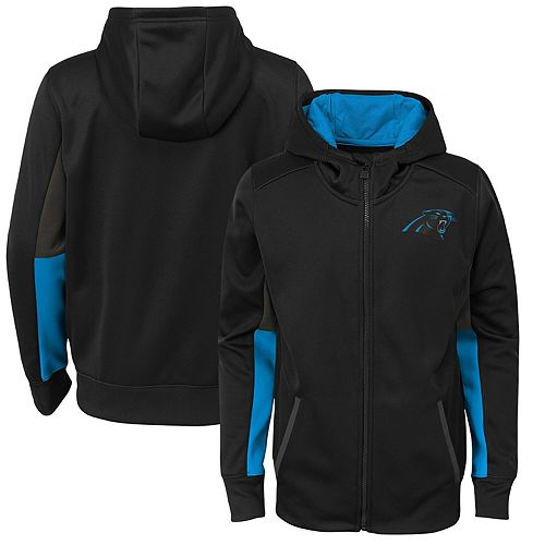 Youth Black Carolina Panthers Connected Performance Full-Zip Hoodie