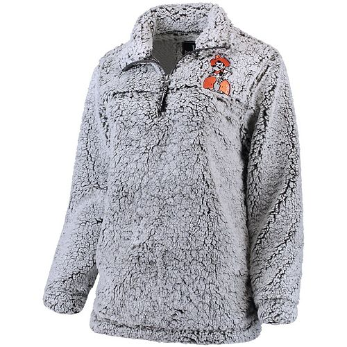 Women's Gray Oklahoma State Cowboys Sherpa Super Soft Quarter Zip Pullover Jacket