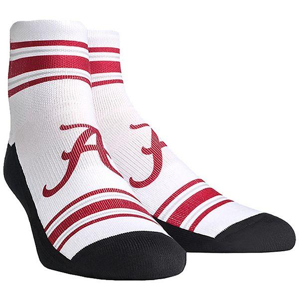 Men's White Alabama Crimson Tide Classic Stripes Quarter-Length Socks