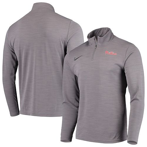 Men's Nike Gray Philadelphia Phillies Intensity Performance Quarter-Zip Pullover Jacket