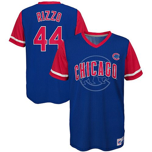 Youth Majestic Anthony Rizzo Royal/Red Chicago Cubs Play Hard Player V-Neck Jersey T-Shirt