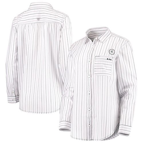 Michigan State Spartans Columbia Women's Sun Drifter Vertical Stripe Button-Down Shirt - White