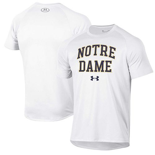 Men's Under Armour White Notre Dame Fighting Irish School Logo Tech 2.0 Performance T-Shirt