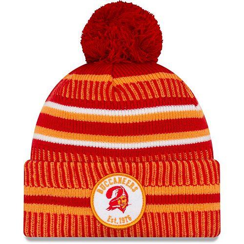 Men's New Era Orange/Red Tampa Bay Buccaneers 2019 NFL Sideline Home Reverse Sport Knit Hat