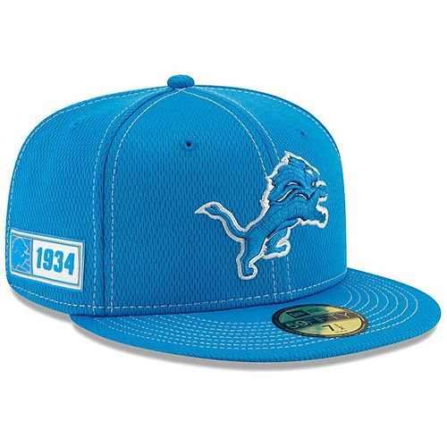 Men's New Era Blue Detroit Lions 2019 NFL Sideline Road Official 59FIFTY Fitted Hat