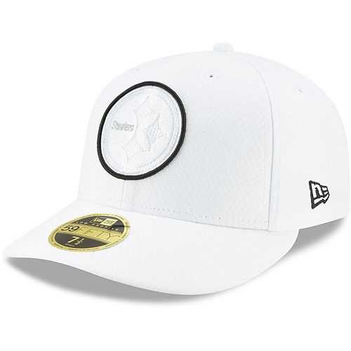 Men's New Era White Pittsburgh Steelers 2019 NFL Sideline Platinum Low Profile 59FIFTY Fitted Hat