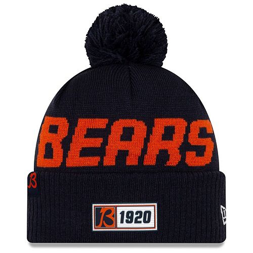 Men's New Era Navy Chicago Bears 2019 NFL Sideline Road Official Sport Knit Hat