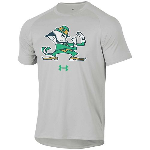 Men's Under Armour Heather Gray Notre Dame Fighting Irish School Logo Tech 2.0 Performance Raglan T-Shirt