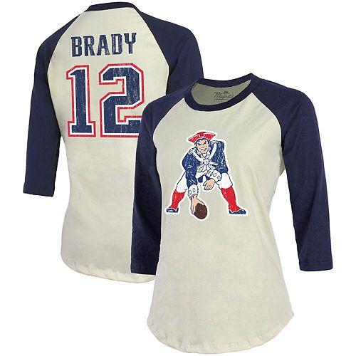 Tom Brady New England Patriots Majestic Threads Women's Vintage Inspired Player Name & Number 3/4-Sleeve Raglan T-Shirt - Cream/Navy