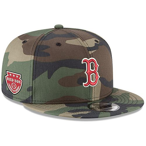 Men's New Era Camo Boston Red Sox Military Patch 9FIFTY Snapback Hat
