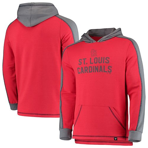 Men's Fanatics Branded Red/Gray St. Louis Cardinals Iconic Colorblock Pullover Hoodie