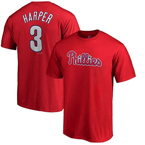 Men's Majestic Bryce Harper Red Philadelphia Phillies Official Name & Number T-Shirt