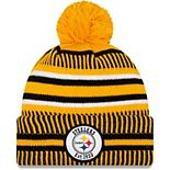 Men's New Era Gold/Black Pittsburgh Steelers 2019 NFL Sideline Home Reverse Sport Knit Hat