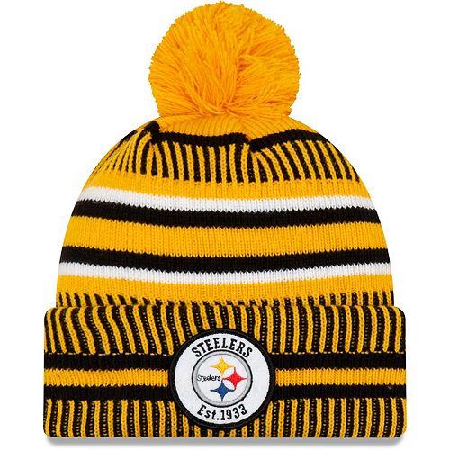 Men's New Era Gold/Black Pittsburgh Steelers 2019 NFL Sideline Home Reverse Sport Knit Hat