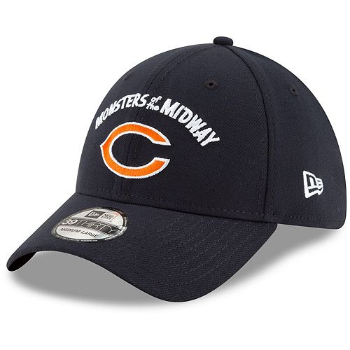 Men's New Era Navy Chicago Bears NFL 100th Season Monsters of the Midway 39THIRTY Flex Hat