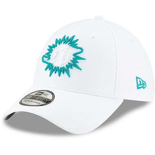 Men's New Era White Miami Dolphins 2019 NFL Sideline Platinum 39THIRTY Flex Hat