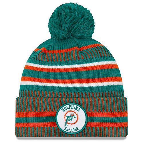 Men's New Era Aqua/Orange Miami Dolphins 2019 NFL Sideline Home Official Historic Logo Sport Knit Hat