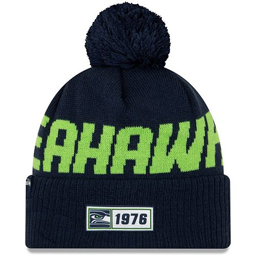 Youth New Era Navy Seattle Seahawks 2019 NFL Sideline Road Sport Knit Hat
