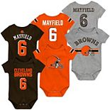 Newborn & Infant Baker Mayfield Brown/Orange/Heathered Gray Cleveland Browns Name & Number Three-Pack Bodysuit Set