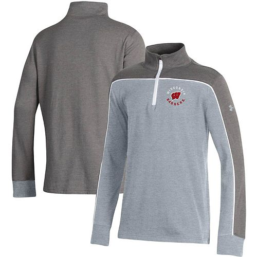 Youth Under Armour Heathered Gray Wisconsin Badgers Tri-Color Quarter-Zip Pullover Jacket