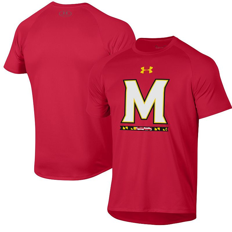 Men's Under Armour Red Maryland Terrapins School Logo Tech 2.0 Performance T-Shirt. Size: Small