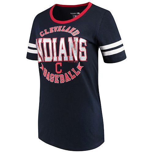 Women's 5th & Ocean by New Era Navy Cleveland Indians Slub Jersey Scoop Neck Sleeve Stripes T-Shirt