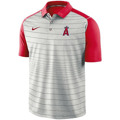 Men's Nike Gray Los Angeles Angels MLB Striped Polo