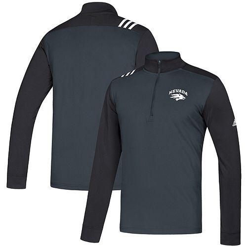 Men's adidas Charcoal/Black Nevada Wolf Pack 3-Stripe Half-Zip Pullover Jacket