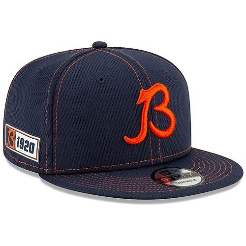 Men's New Era Navy Chicago Bears 2019 NFL Sideline Road Official B Logo 9FIFTY Snapback Adjustable Hat