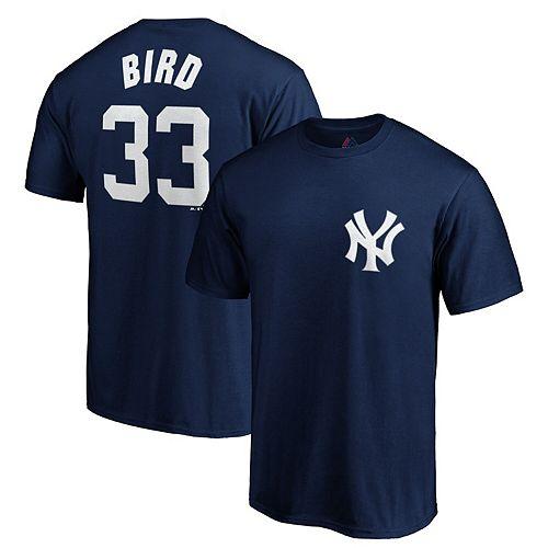 Men's Majestic Greg Bird Navy New York Yankees Logo Official Name & Number T-Shirt