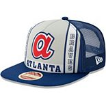 Men's New Era Royal Atlanta Braves Heritage Banner A-Frame Trucker Snapback Adjustable Hat