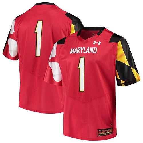 Men's Under Armour #1 Red Maryland Terrapins Team Replica Football Jersey
