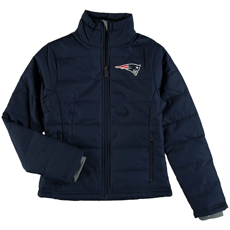 Girls Youth Navy New England Patriots Cheer Squad Ultra Lite Full-Zip Jacket. Girl's. Size: Small 4. Blue