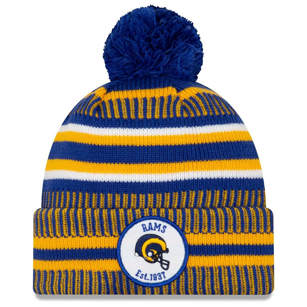 Men's New Era Royal/Gold Los Angeles Rams 2019 NFL Sideline Home Official Historic Logo Sport Knit Hat