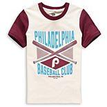 Youth Cream/Burgundy Philadelphia Phillies Timeless Pastime Ringer T-Shirt