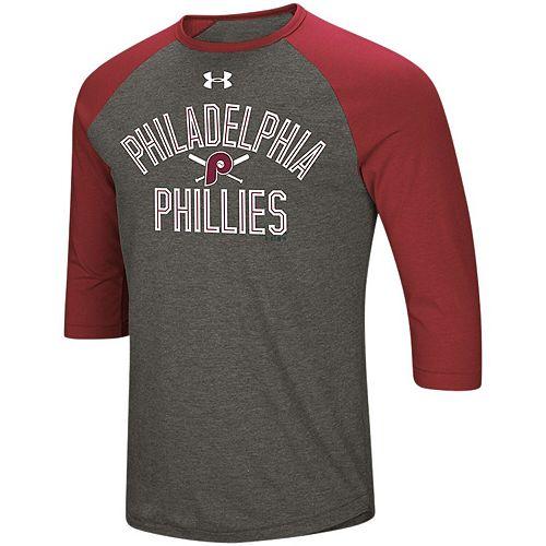 Men's Under Armour Heathered Gray/Maroon Philadelphia Phillies Tri-Blend Cooperstown Crossed Bats 3/4-Sleeve Raglan Performance T-Shirt