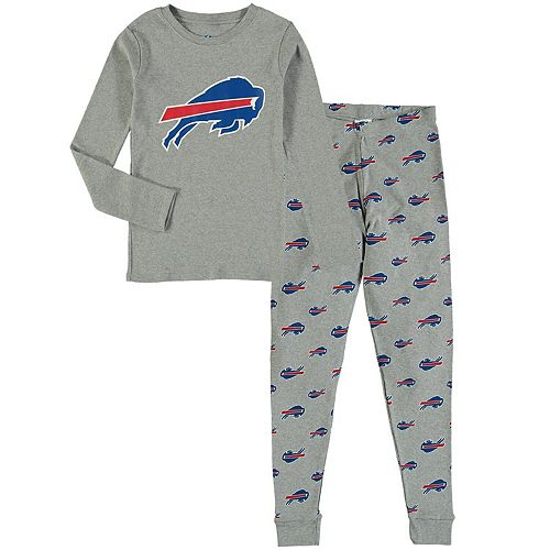 Youth Heathered Gray Buffalo Bills Long Sleeve T-Shirt & Pants Sleep Set