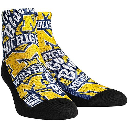 Men's Michigan Wolverines Logo Sketch Quarter-Length Socks