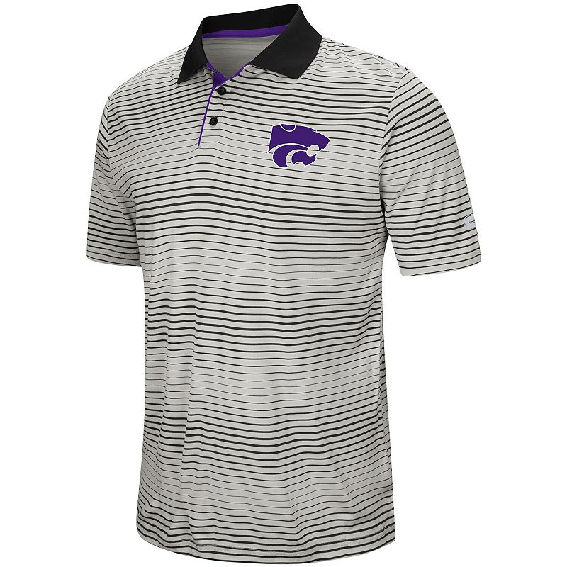 Men's Colosseum Gray Kansas State Wildcats Lesson Number One Polo. Size: 3XL. Grey