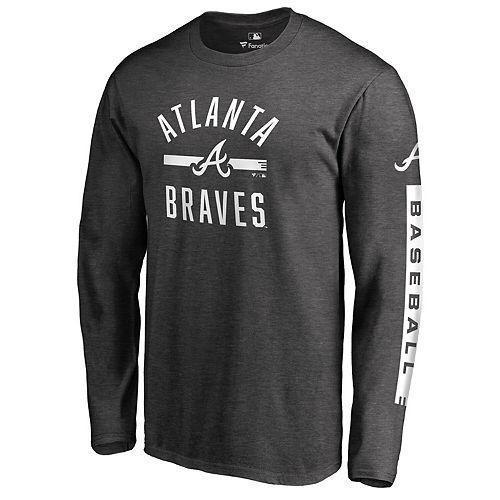 Men's Fanatics Branded Heathered Charcoal Atlanta Braves Cinder Long Sleeve T-Shirt