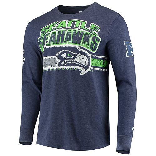 Men's G-III Extreme College Navy Seattle Seahawks Extreme Jump Shot Long Sleeve T-Shirt