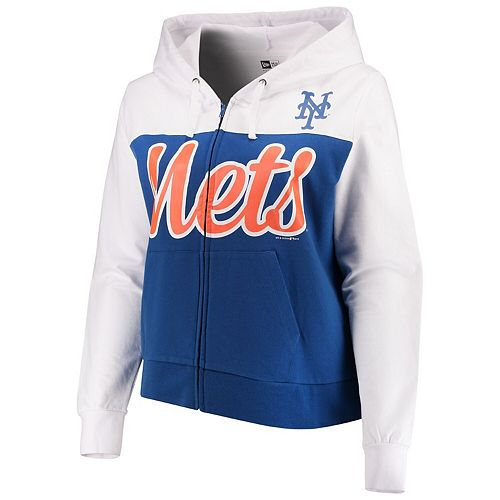 online store ebda6 944d5 Women's 5th & Ocean by New Era Royal/White New York Mets Plus Size French  Terry Color Block Full-Zip Hoodie