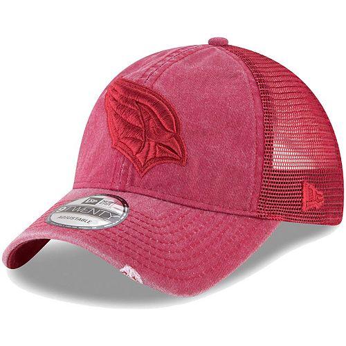 Men's New Era Cardinal Arizona Cardinals Tonal Washed Trucker 9TWENTY Adjustable Snapback Hat