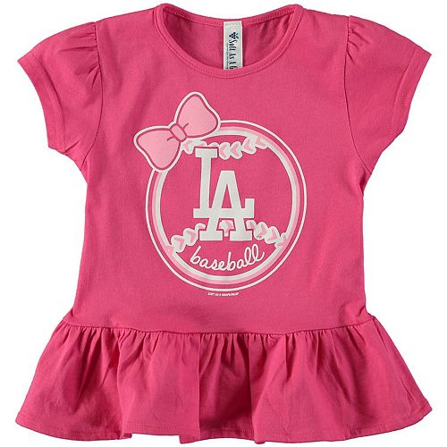 Girls Toddler Soft as a Grape Pink Los Angeles Dodgers Ruffle T-Shirt