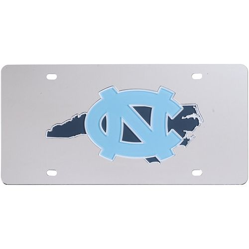 North Carolina Tar Heels Acrylic State Shape Silver Mirror License Plate