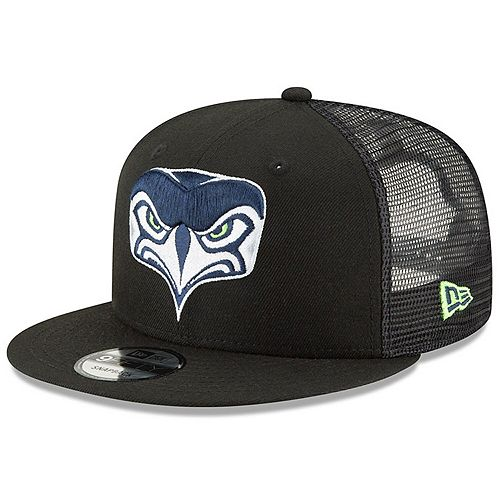 Men's New Era Black Seattle Seahawks Alternate Team Logo Trucker 9FIFTY Adjustable Snapback Hat